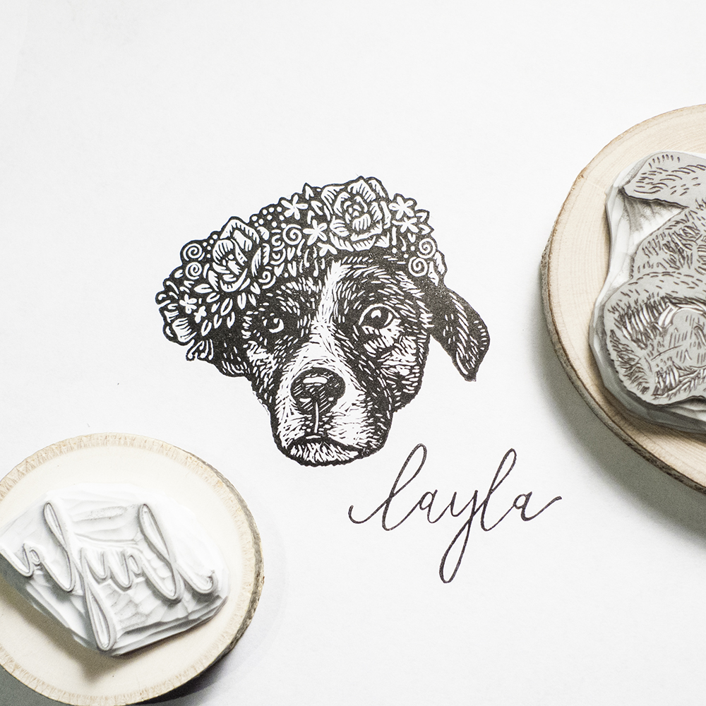 Layla, handmade dog portrait stamp by Tian Gan