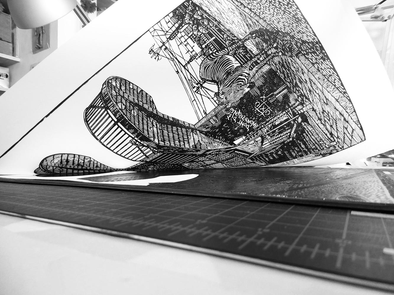 Original linocut, 30 x 45cm. Edition of 20 on Hosho paper. Year 2016.