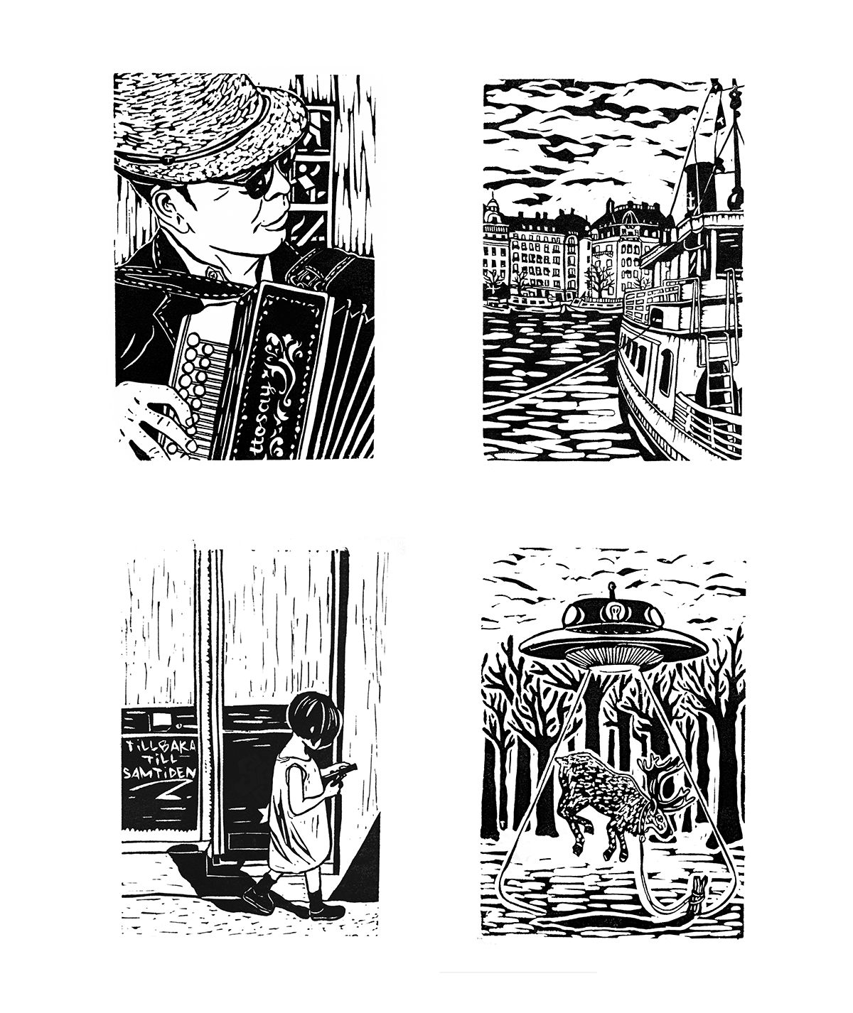 Linocut illustrations for the book  Stockholm Syndromes , an anthology of poetry and short stories published by Stockholm University. Year 2013.