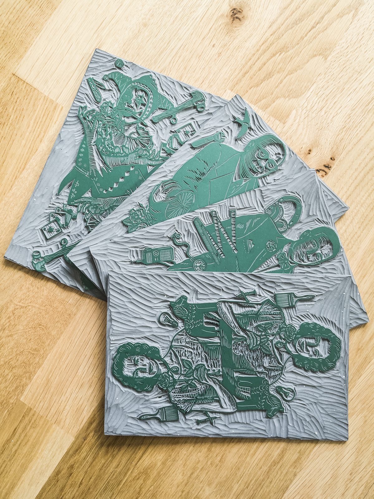 The designs are hand-carved on Japanese vinyl sheets.