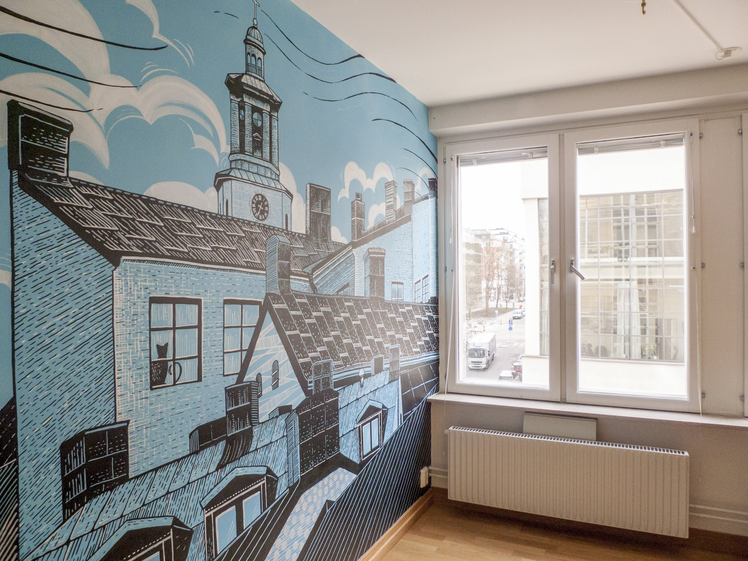Private commission, wall mural in an apartment on  Södermalm  based on the Maria Magdalena linocut.