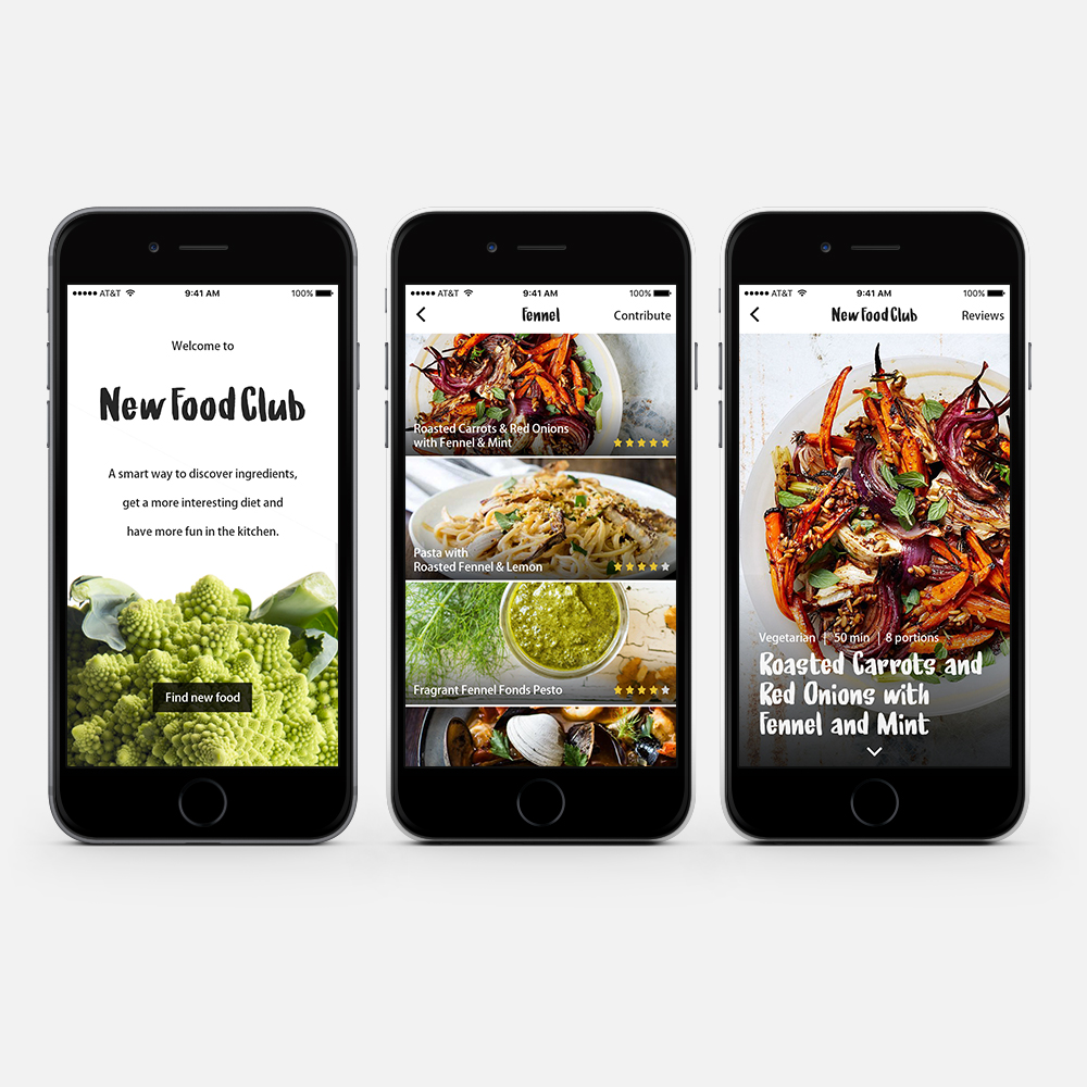 Mobile App Prototype, New Food Club