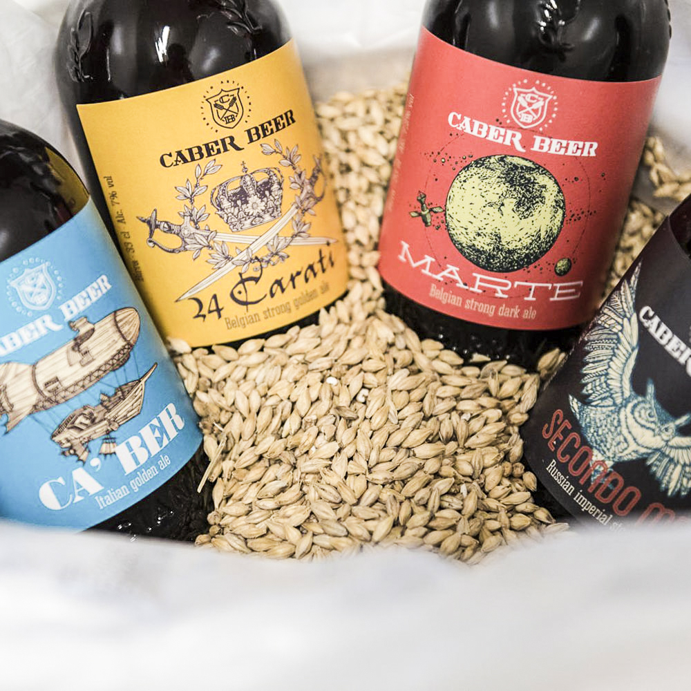 Label illustrations for Caber Beer.