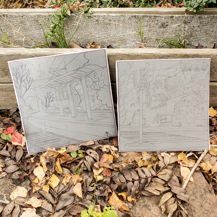 Sketches on two linoleum blocks.