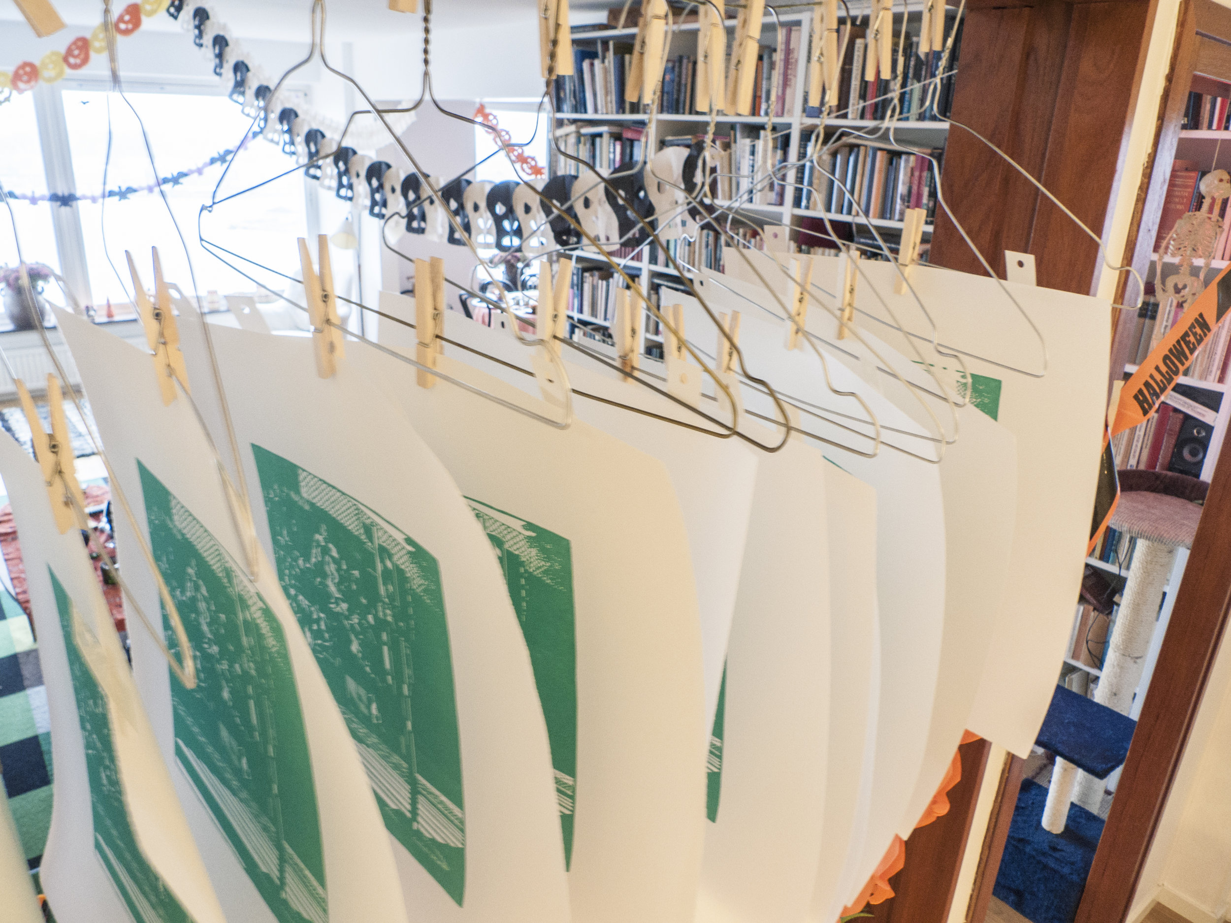 First layer of  Tegnérgatan  printed and hanging to dry.