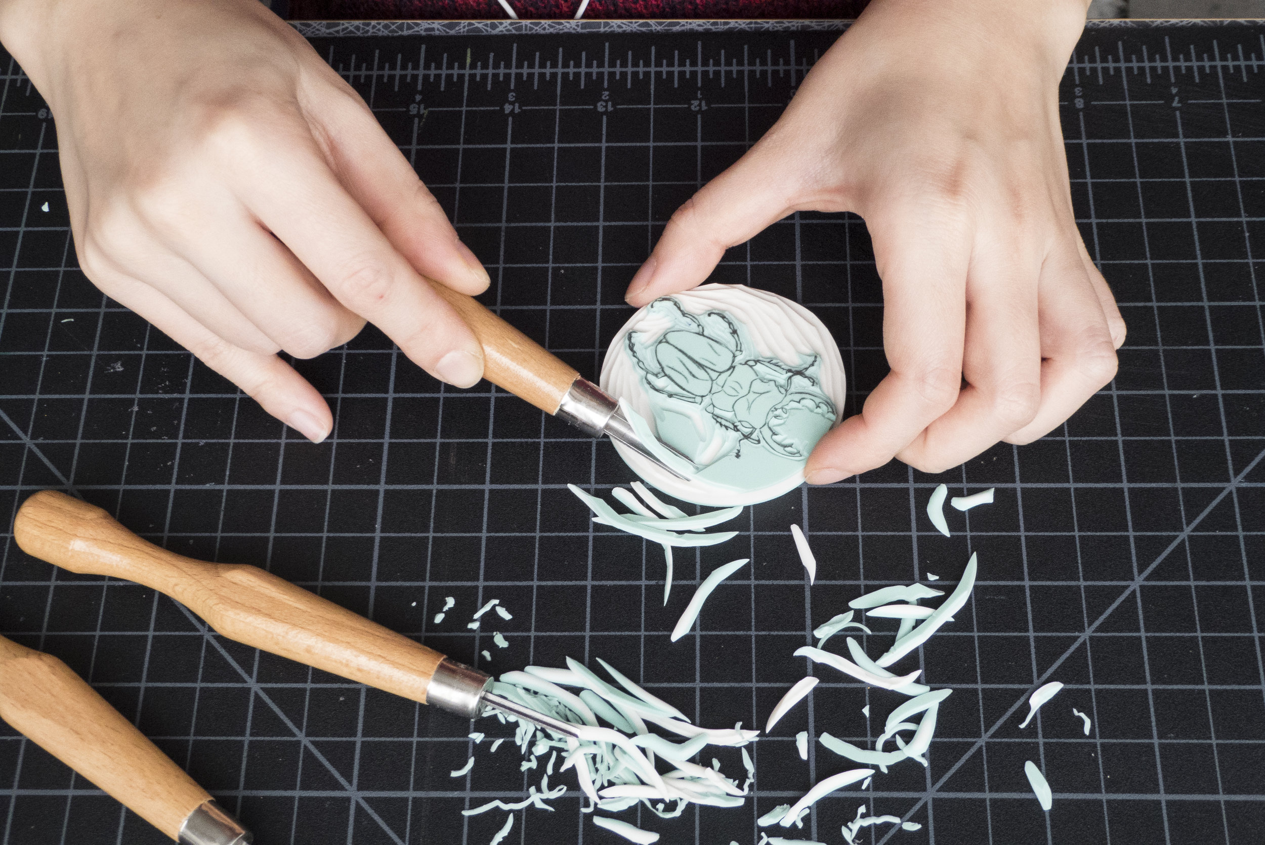 A kit that includes the tools, materials and instructions to start making one's own rubber stamps.