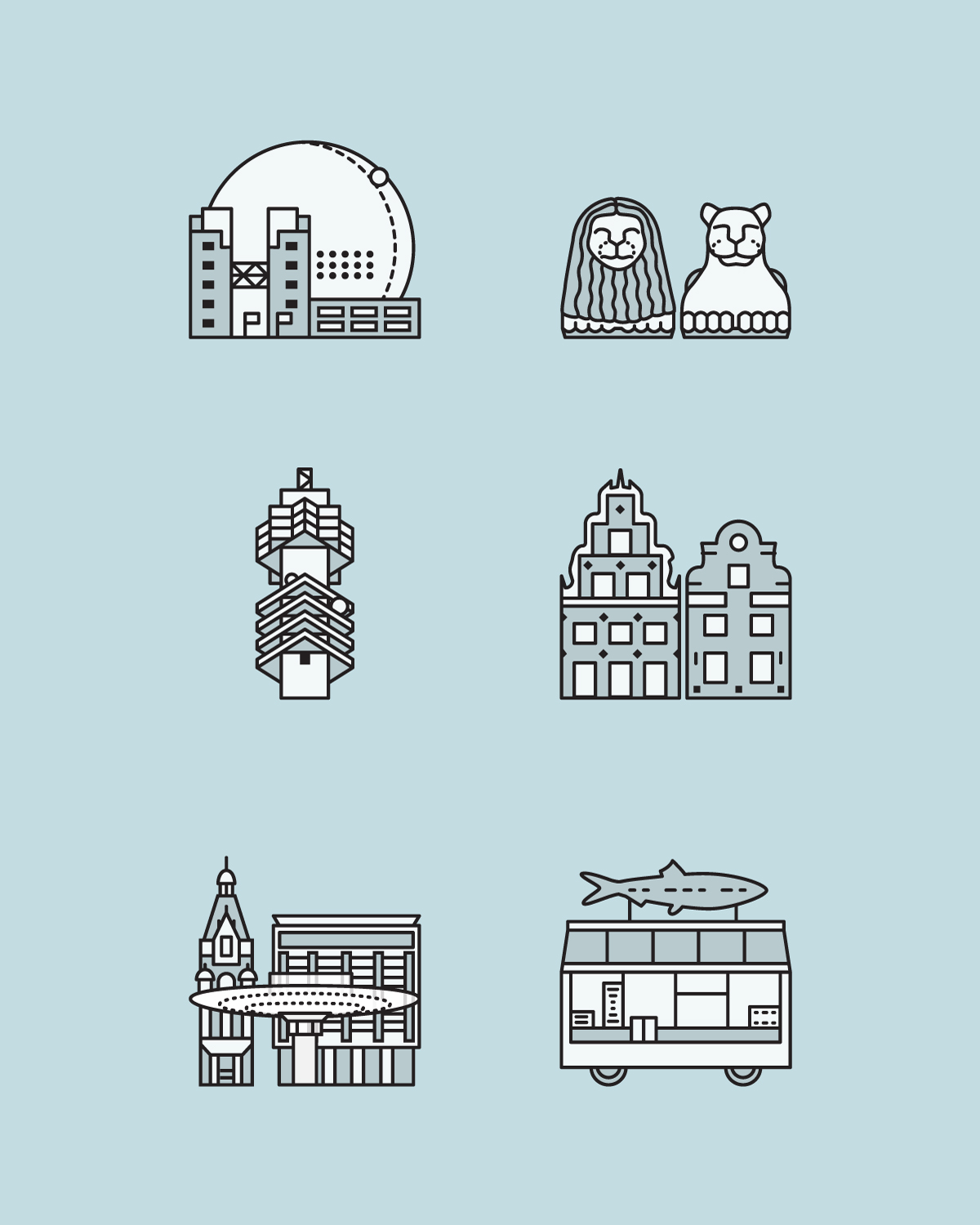 A series of minimalist icons depicting some iconic buildings and objects in Stockholm.