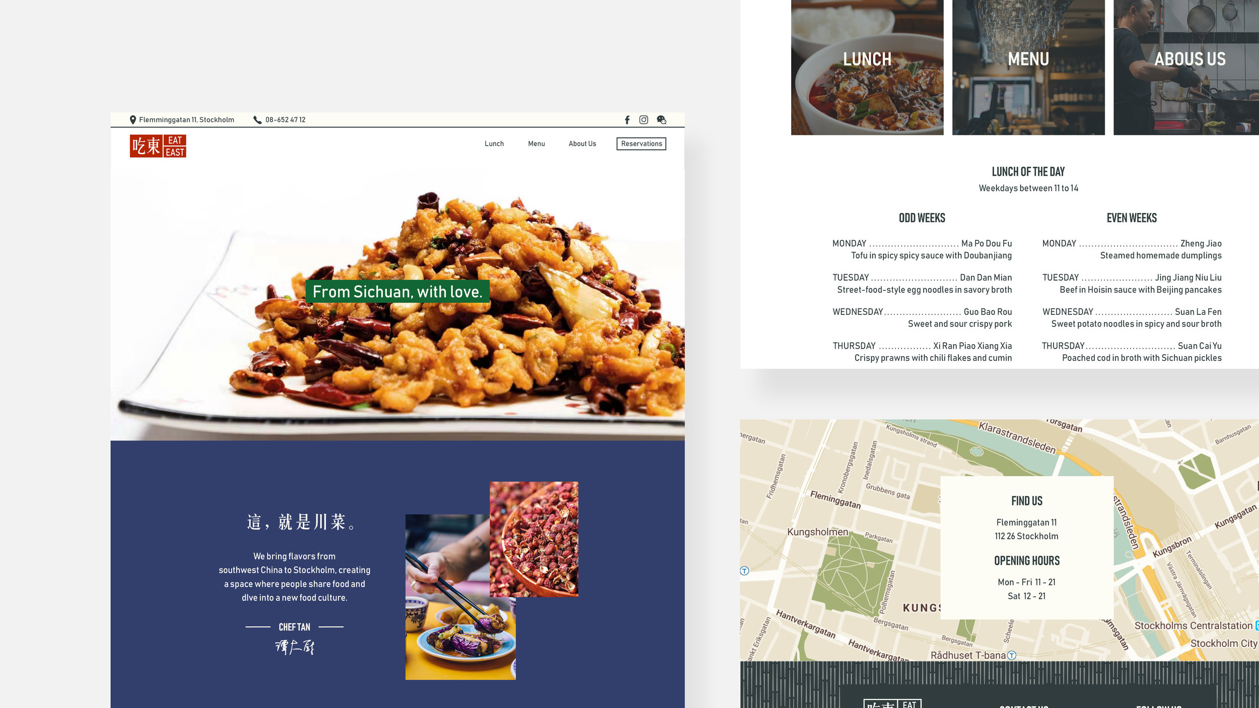 Website design for a Chinese restaurant.