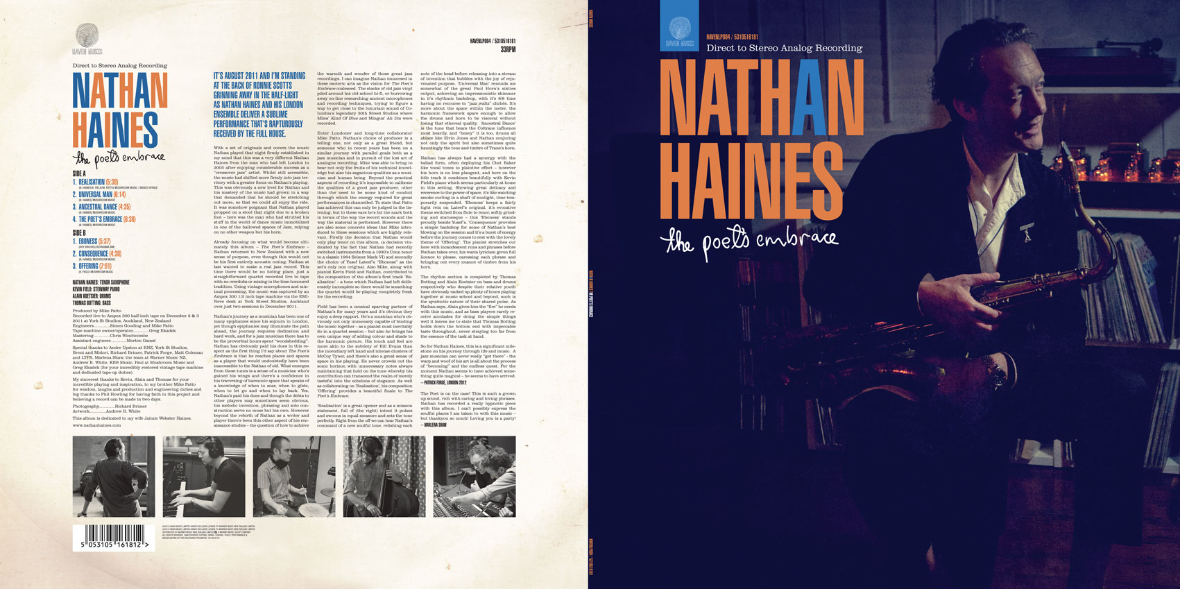 "Nathan Haines - The Poet's Embrace 12"" LP spread"