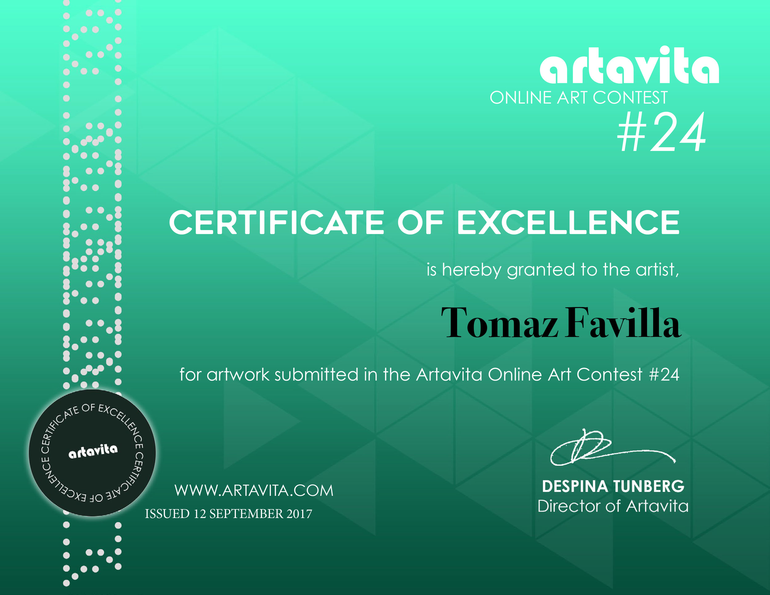 Top 25 Winner of the ArtaVita Online Art Competition!!! Wohoooo!!!