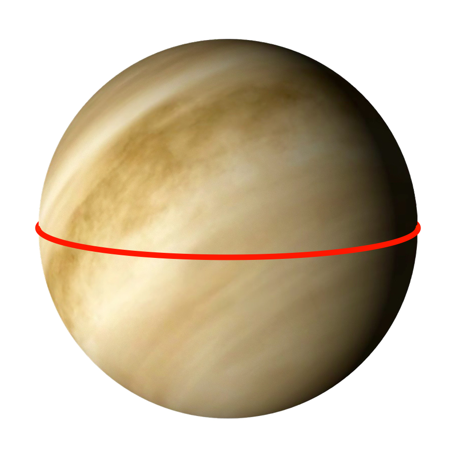 Circumference - Venus has an equatorial circumference of 38,024.6 kilometers. That's makes it the second biggest terrestrial planet.