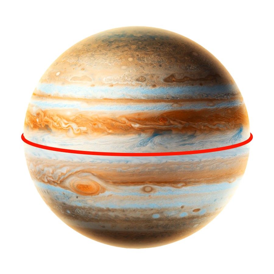 Circumference - King of the planets, Jupiter has a circumference of 439,264kilometers. That's bigger than any of the other planets.