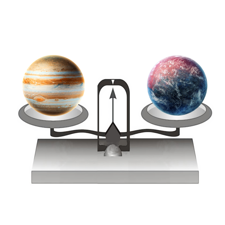Mass - If we put Jupiter on a balance, it would have a mass of 1,898,130,000,000,000,000,000,000,000 kilograms. That's a number so big, the font on this website had to changed so that it could fit.