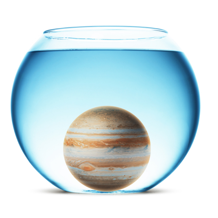 Density - Because it's a gas giant, Jupiter's density is a relatively low 1.33 grams / cubic centimeter. It would still sink in water, though.