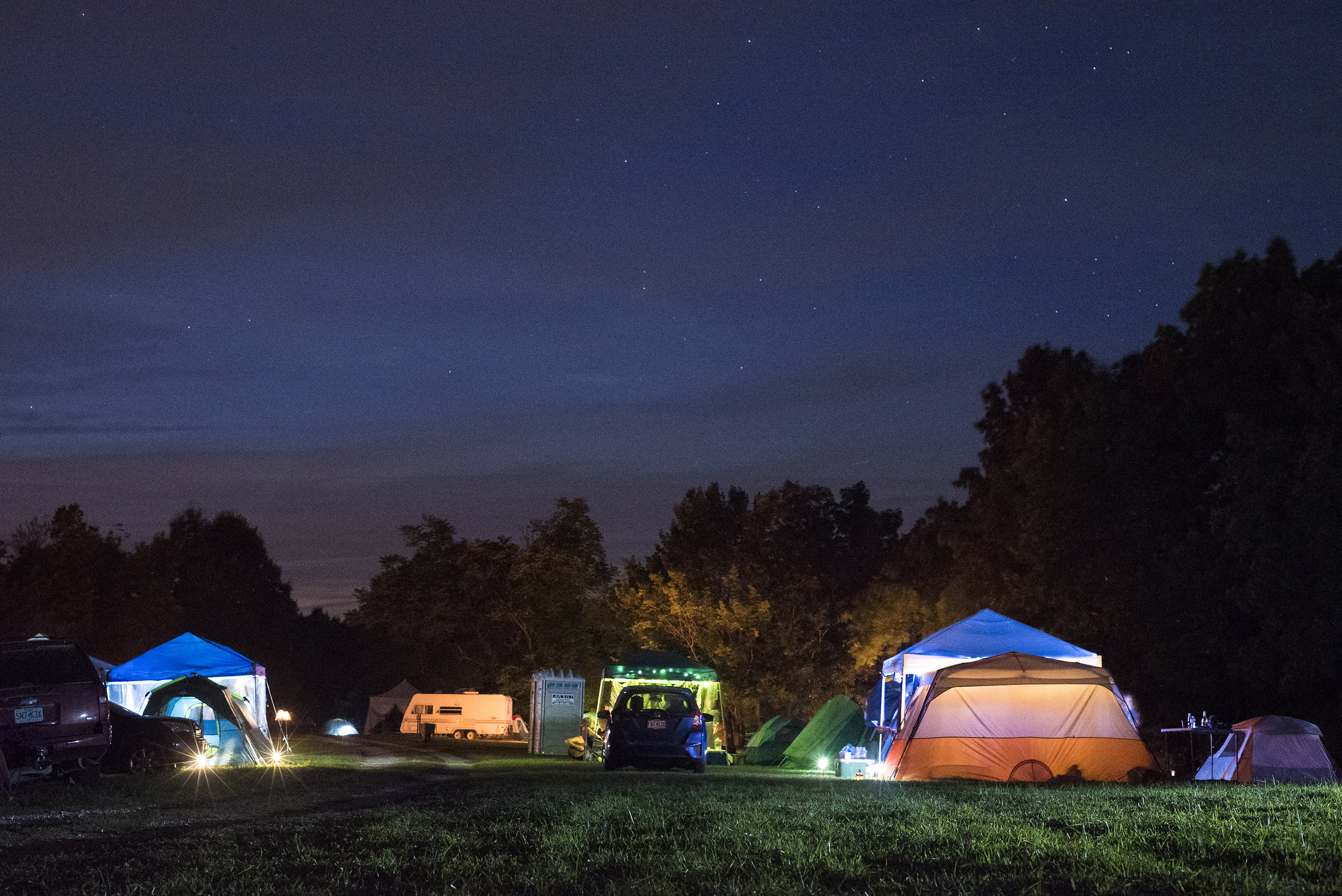 Pagans camp on the property of Oak Spirit Sanctuary the night before the total solar eclipse on Sunday, August 21, 2017.