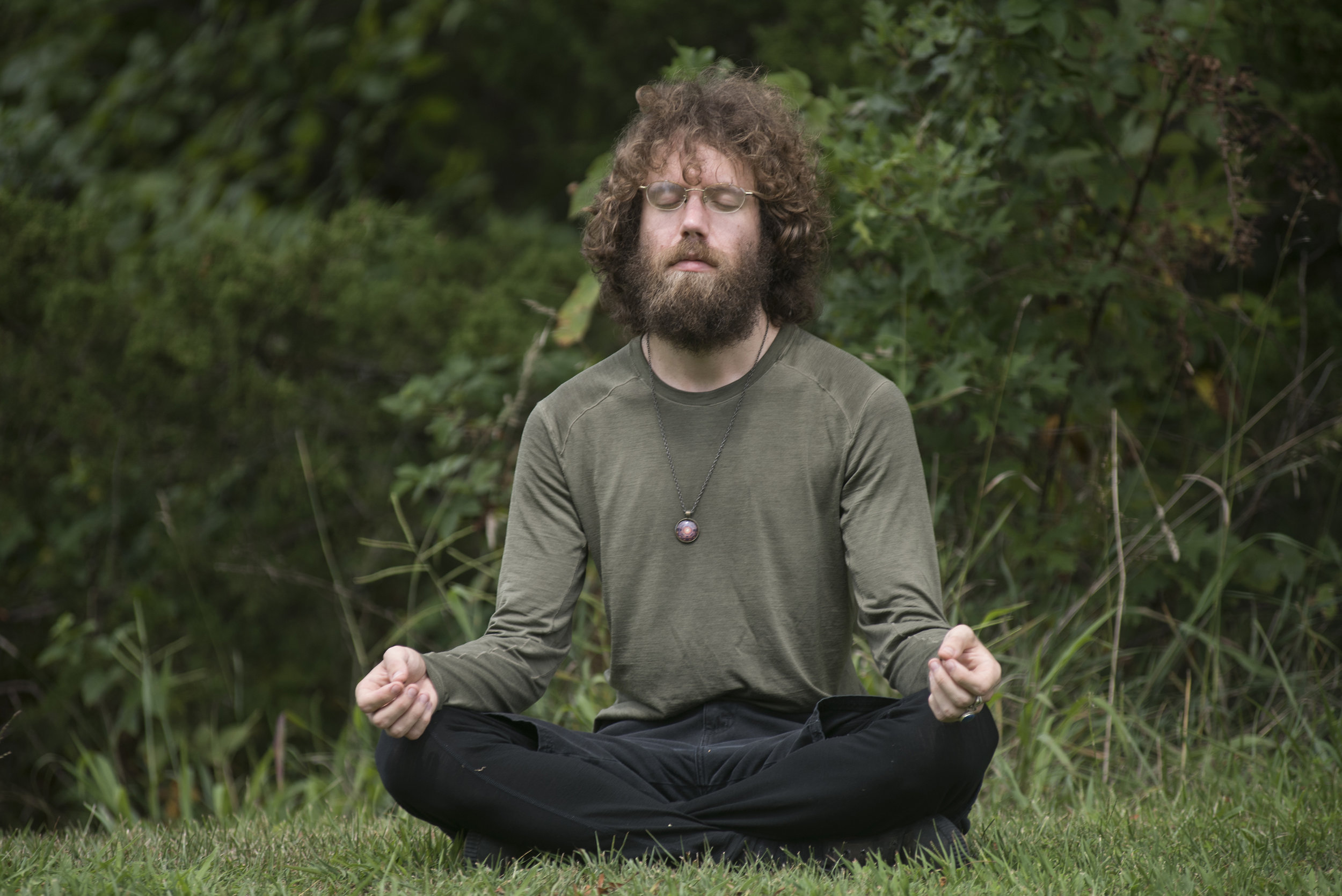 Frater Dominion meditates in preparation for the total solar eclipse.Many members of the pagan community find meditation an important part of getting in touch with themselves and finding an inner peace.