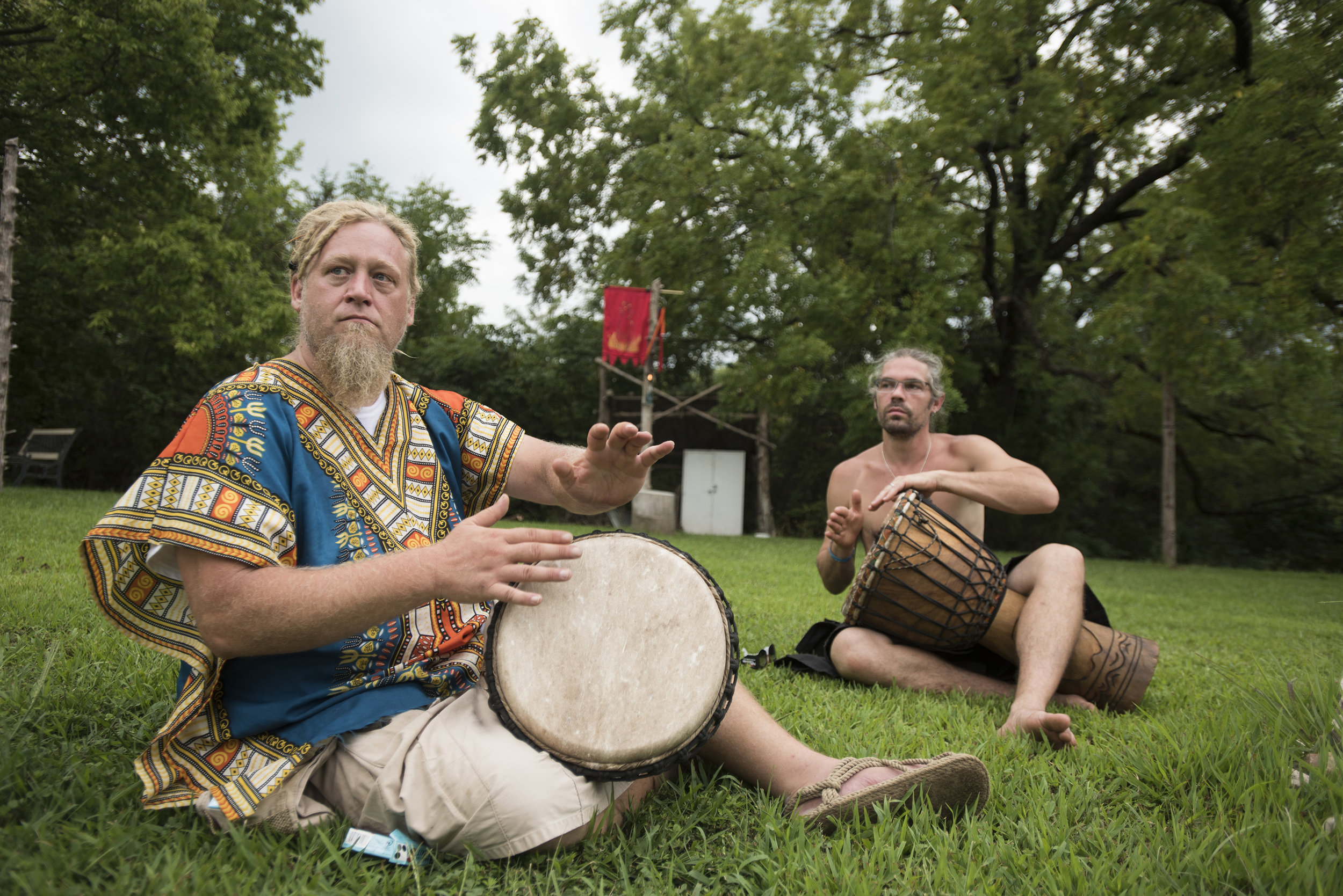 Don Breuer and Patrick Bollinger drum as the solar eclipse gets closer to reaching totality. Drumming and chanting is an important aspect of pagan worship and can be seen in many rituals and celebrations.
