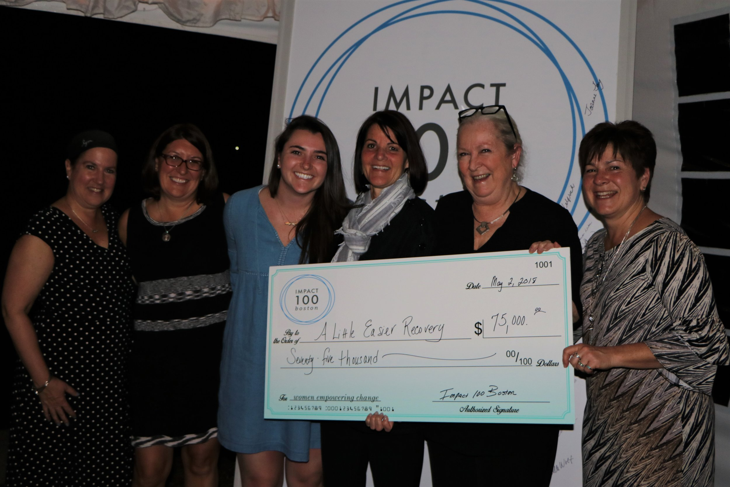 """We are thrilled and honored to be the Impact 100 Boston grant recipient and on behalf of all the women we will help through their traumatic journey of breast cancer treatment and recovery- -thank you, thank you!"" Cathy McGrath~Founder & Maureen Cardinal~Executive Director"