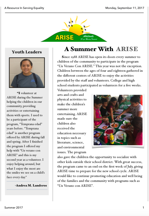 Summer Newsletter 2017 English