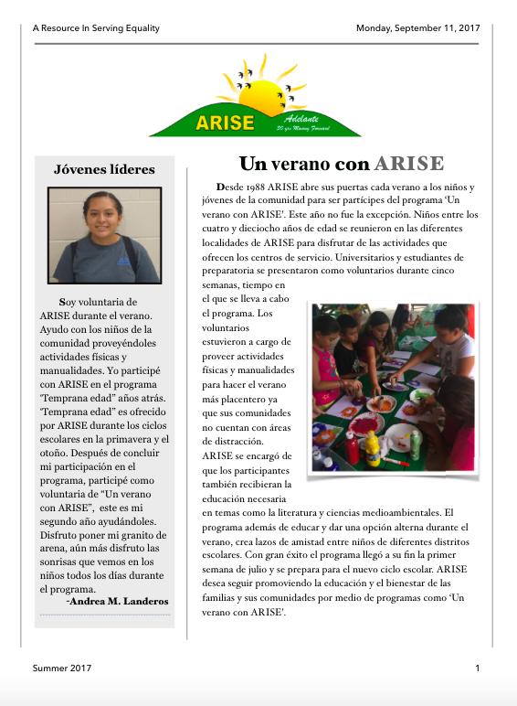Summer Newsletter 2017 Spanish