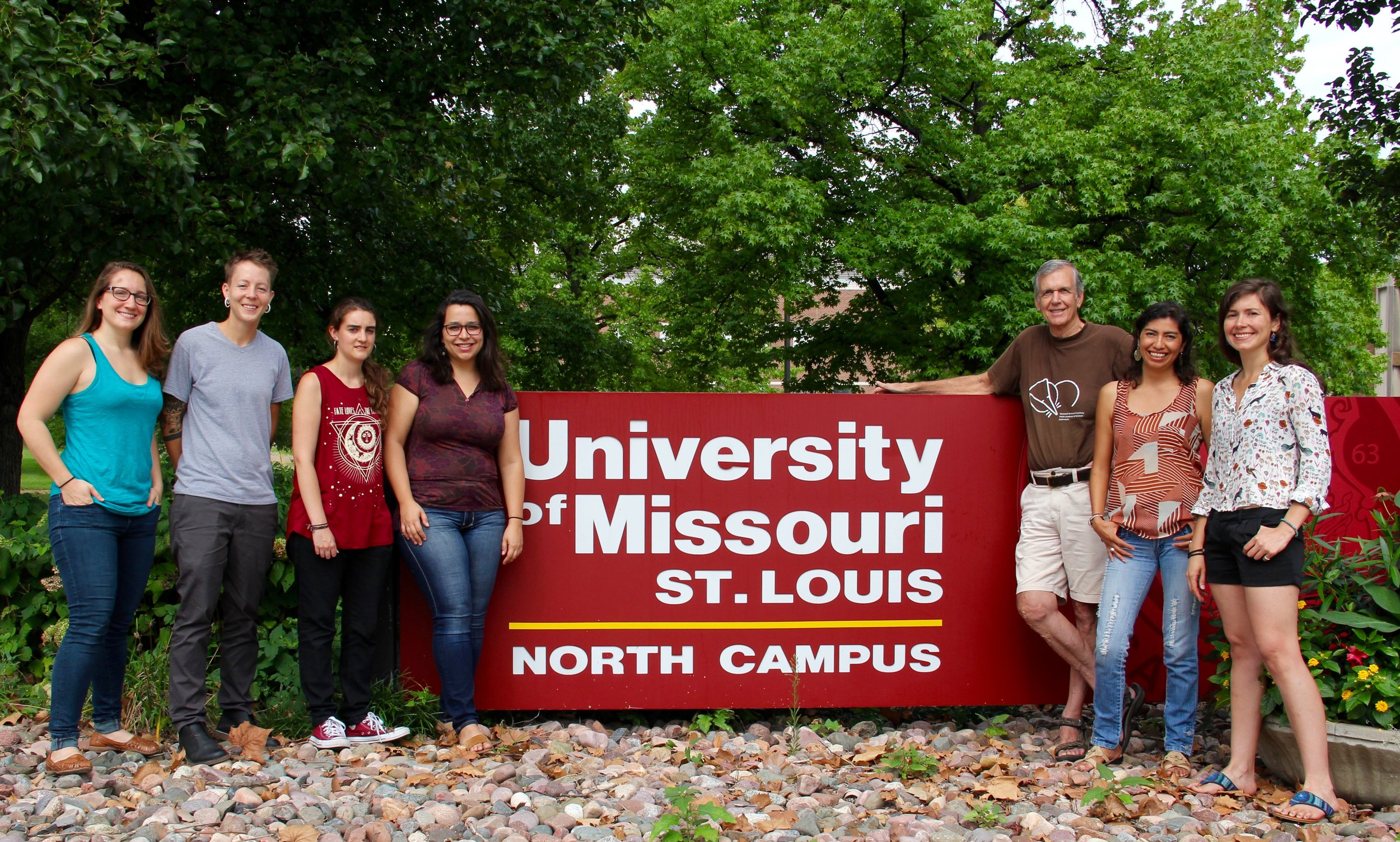From left, Emma, Meg, Claudia, Leticia (alumna), Bob, Isa, and Leti (alumna)
