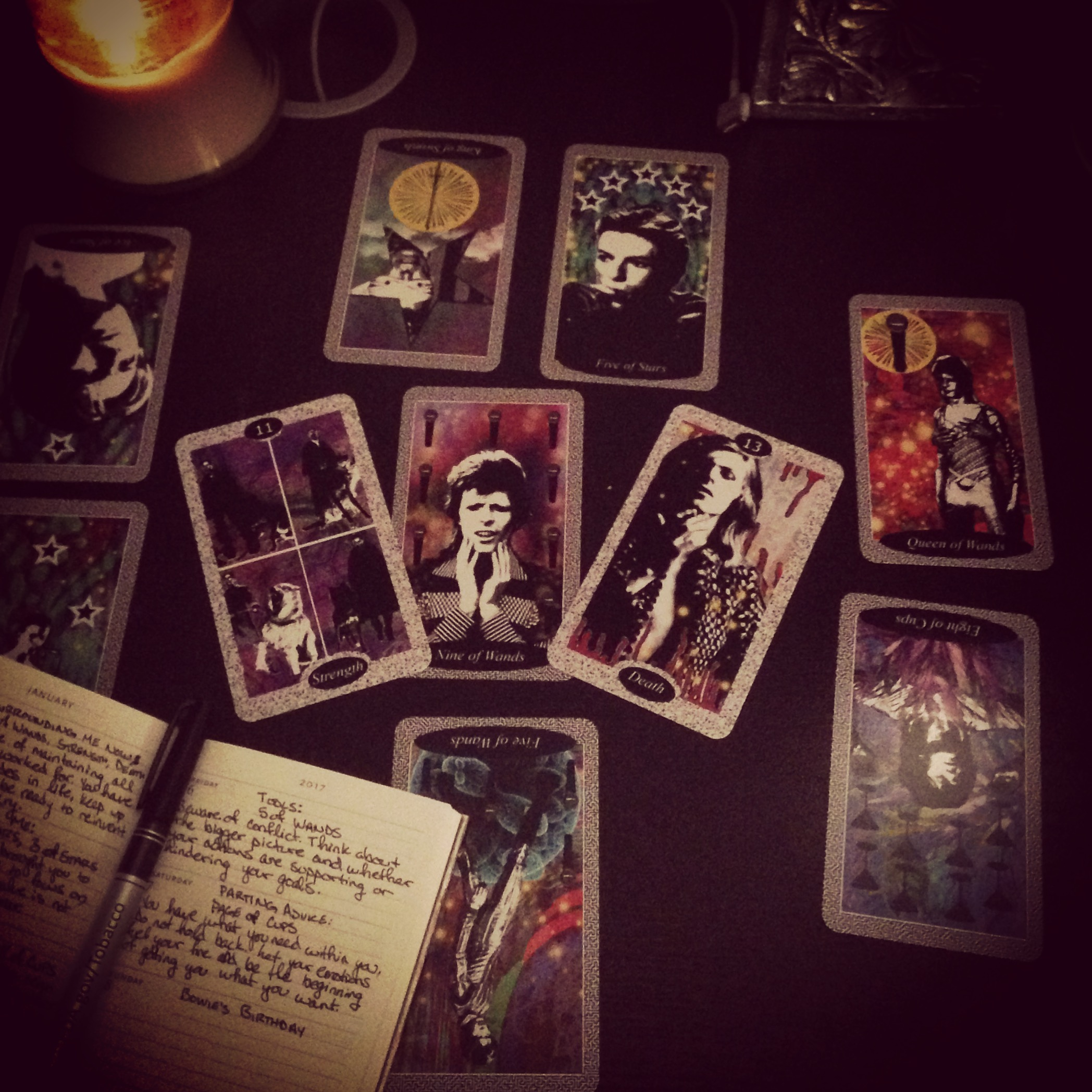 My new year's tarot spread today, with my Bowie deck. The death card came up today, as it has every year at the start of the year. Big ch-ch-ch-changes ahead!