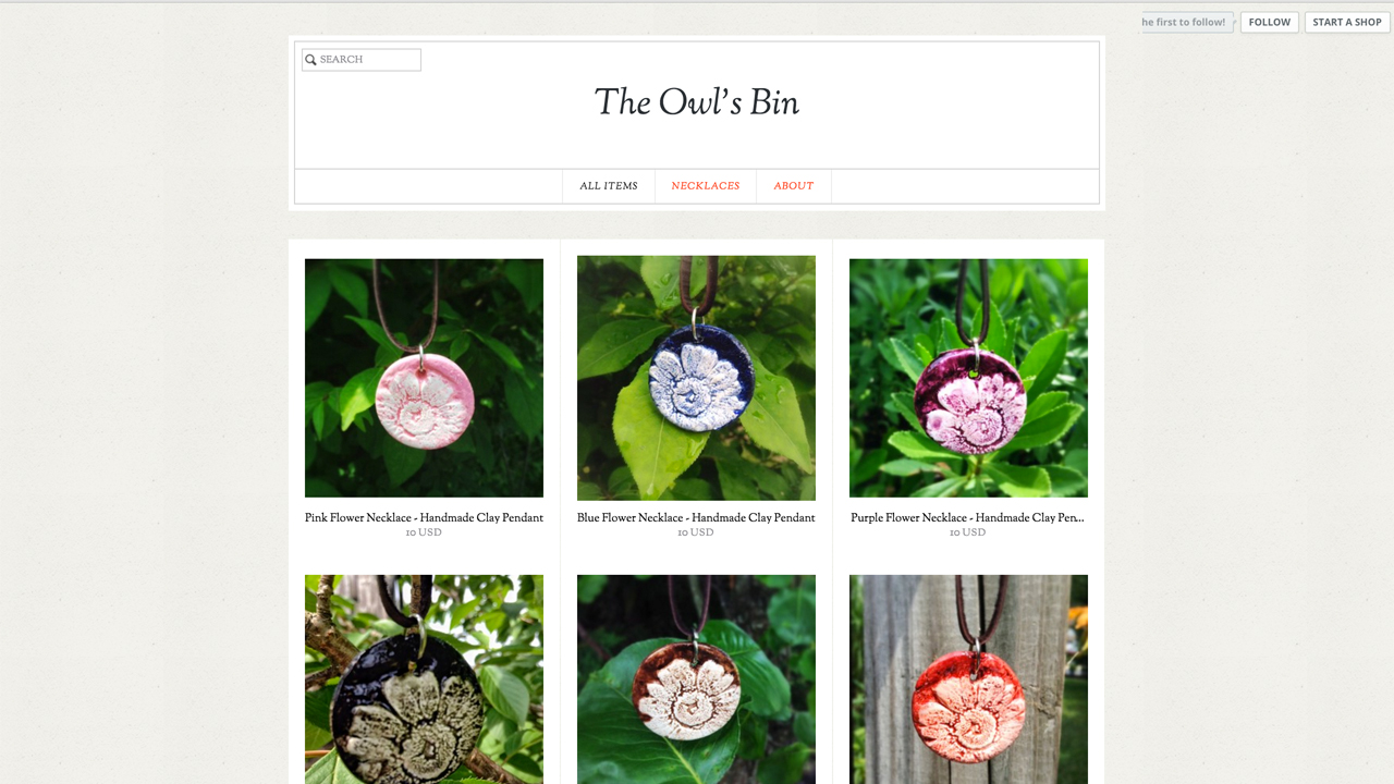 The Owls Bin  (Howell, Monmouth County) Nature-inspired handmade necklaces. Shop online.