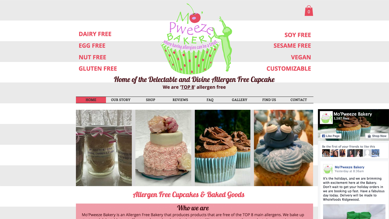 Mo'Pweeze Bakery  (Hawthorne, Passaic County)  Vegan, gluten-free, allergen-free cupcakes, cakes, breads, pies, cookies, wedding cakes, custom orders, and more. Order online; pickup at  Retail and Farmers Market locations