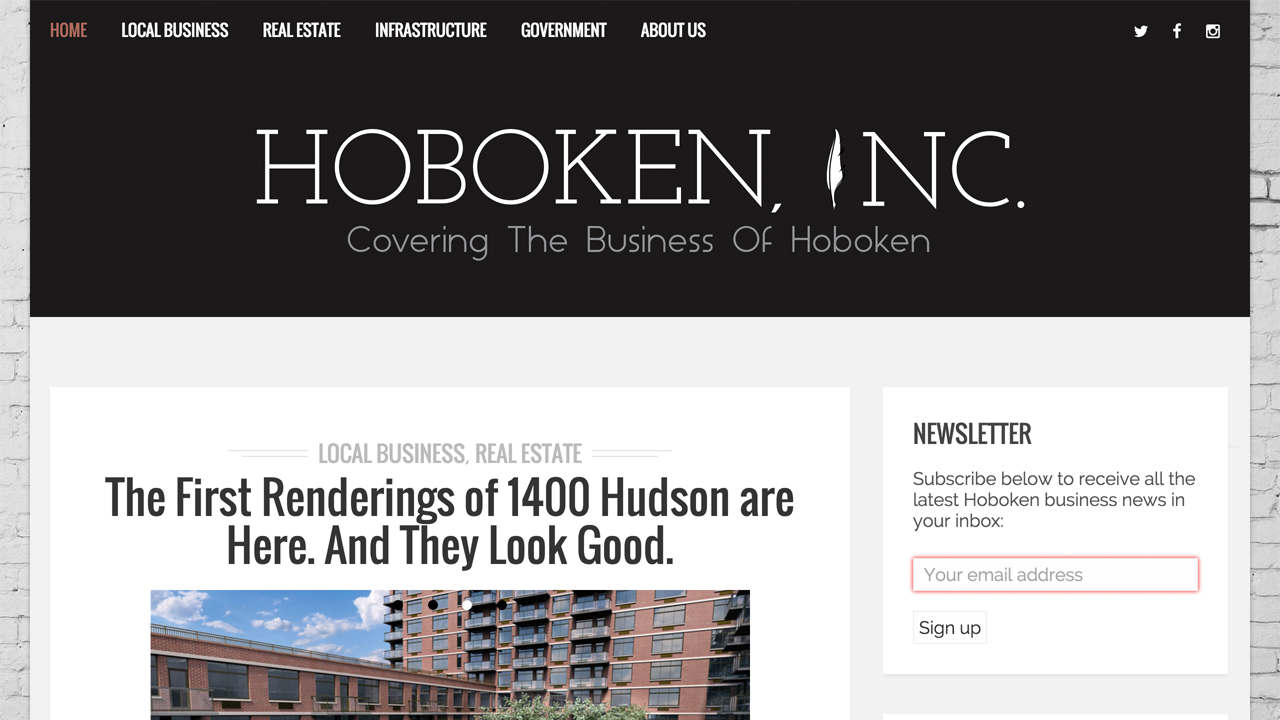 "Hoboken, Inc.  (Hoboken, Hudson County) "" We are an apolitical blog covering the various aspects of business that affect the city of Hoboken and its residents.   Our aim is to deliver a high standard of coverage with regards to local business, real estate, infrastructure, government and intersecting topics."""