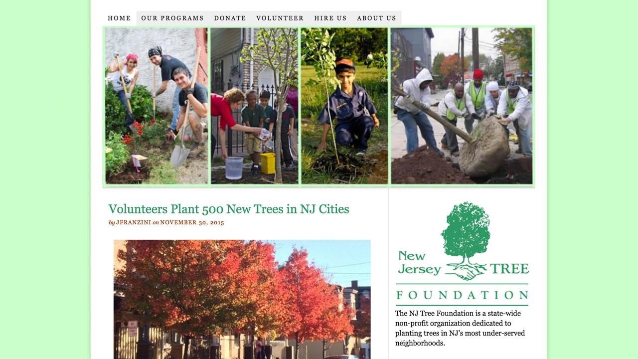 NJ Tree Foundation (Newark | Essex County & Camden | Camden County) Programs: Urban Airshed Reforestation Program | Renaissance Trees Program | Green Streets Program | Grove of Remembrance | TreeKeepers