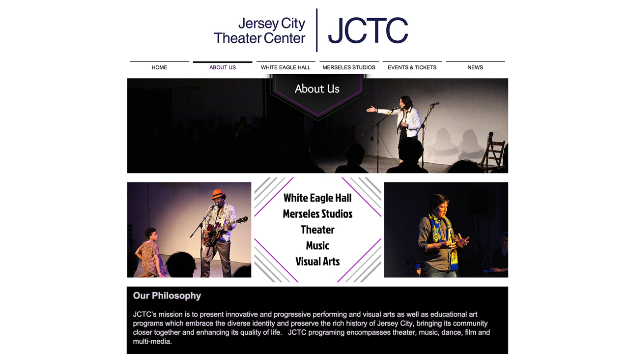 Jersey City Theatre Center (Jersey City |Hudson County) Programs: Theater performances | art shows | film screenings | lectures, workshops, classes | Event rental space
