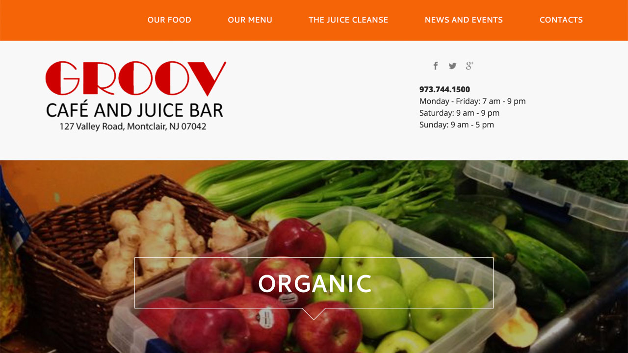 Groov Cafe (Montclair, Essex County) Fresh juice combinations, all natural smoothies, soups, salads, wraps, quesadillas, empanadas, arepas, burritos, ramen, brunch all day, omletes, pancakes, and more. Vegetarian & vegan options. Located at 127 Valley Road.