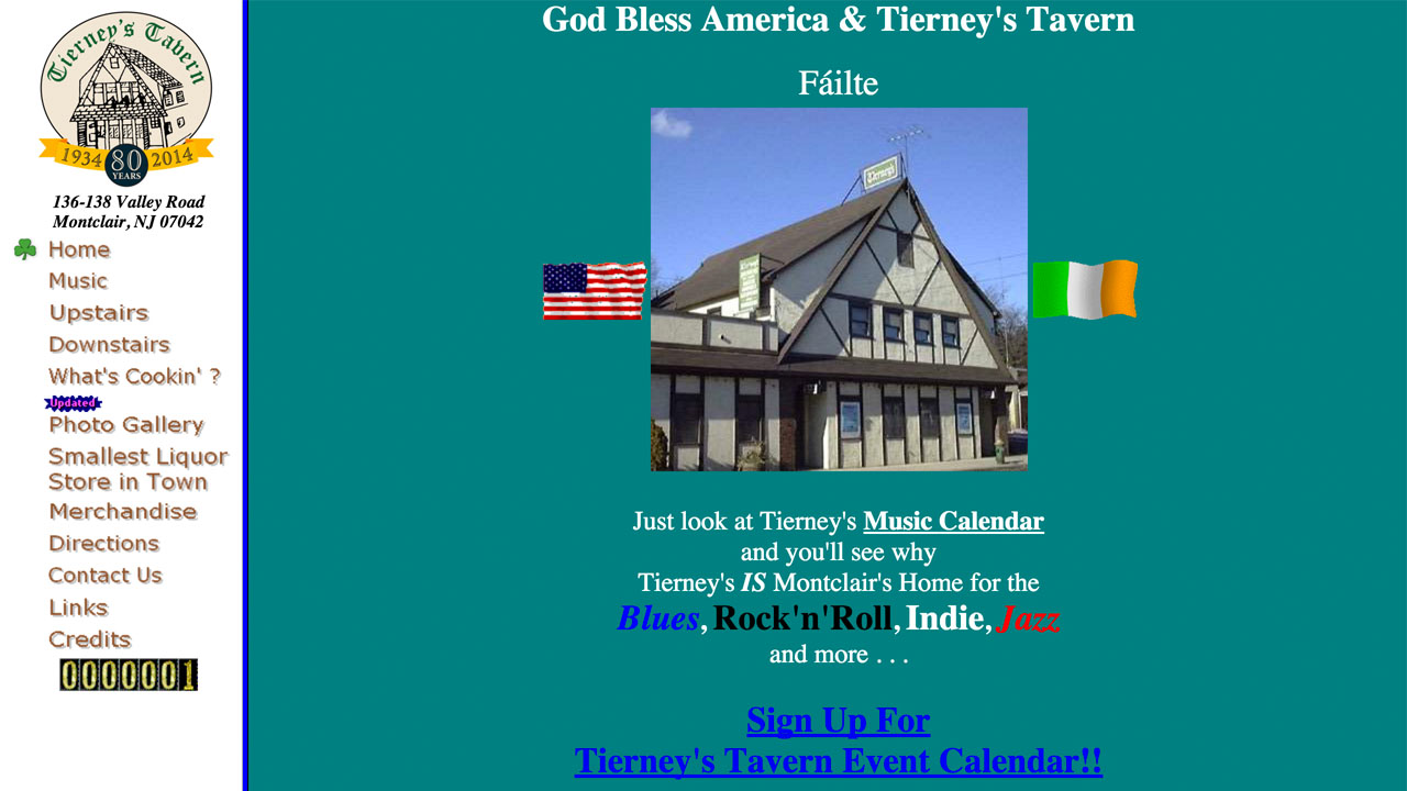 Tierney's Tavern (Montclair, Essex County) Beer, wine, and spirits. Located at 136-138 Valley Road.