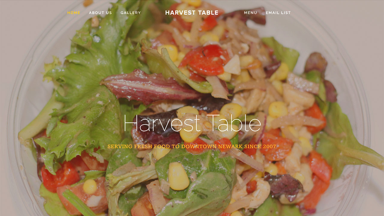 Harvest Table Fresh Food Eatery (Newark, Essex County) Breakfast items, bagels, sandwiches, soup, chili, salads, burgers, paninis, wraps, sandwiches, baked goods, smoothies, hot beverages, teas, juices, and more. Vegetarian options. Located at 127 Halsey Street.