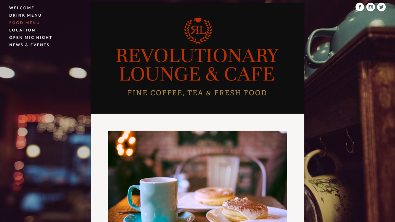 Revolutionary Lounge & Cafe (Toms River, Ocean County) Fair trade coffees and teas, organic blends. Latte, cappucino, espresso, homemade hot and frozen speciality drinks, and more. Meat, vegetarian, and vegan dishes, including sandwiches, wraps, omeletes, dumplings, quesadillas, soups, salads, assorted cakes and pastries, and more.