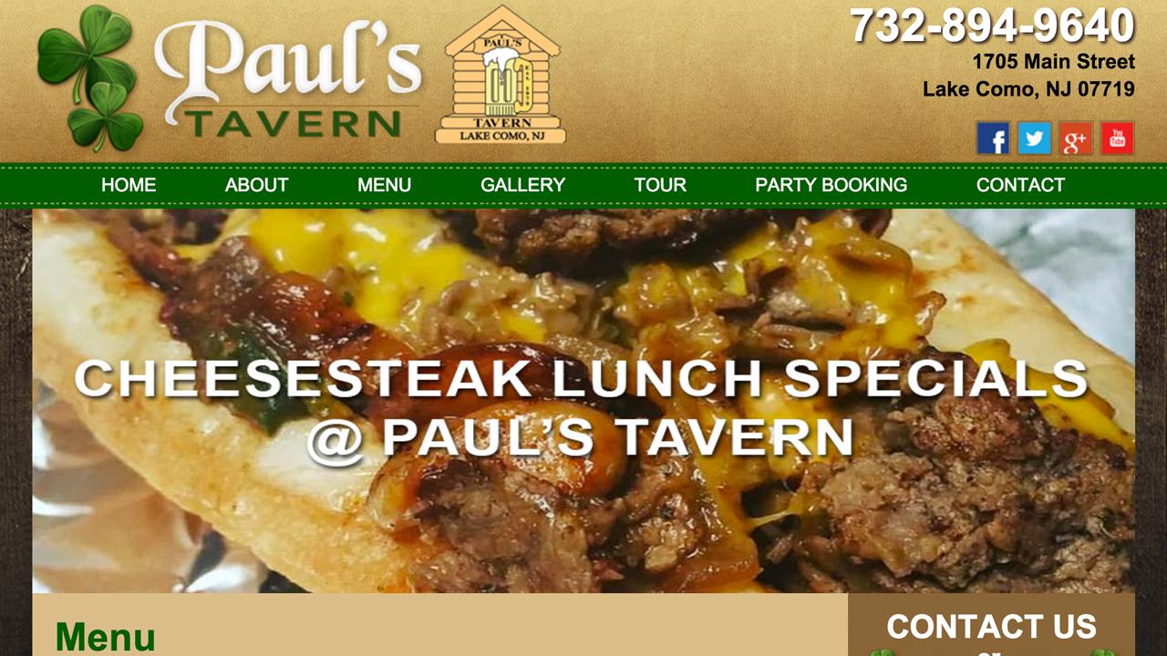 Paul's Tavern (Lake Como, Monmouth County)  Irish Pub & bar. Steak, 1/2 lb burgers, pizzas, salads, wings, and more. Located at 1705 Main Street.