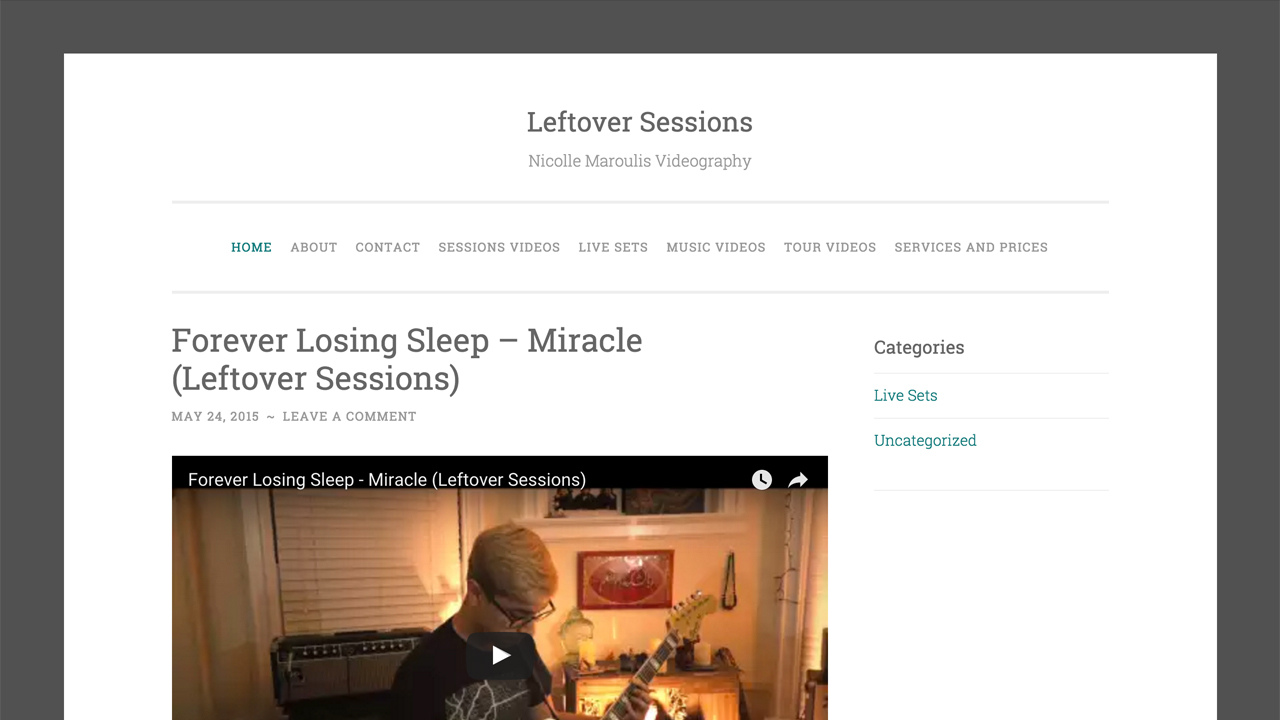 "Leftover Sessions  (Nicolle Maroulis Videography) (Little Falls, Passaic County | Northern NJ) ""Leftover Sessions is a freelance Video Production company based out of Northern New Jersey specializing in video editing services for musicians and artists."""