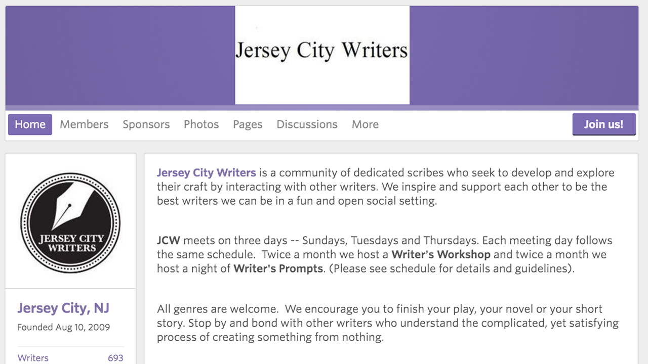 Jersey City Writers (Jersey City -Hudson County)  Meetup Group for writers