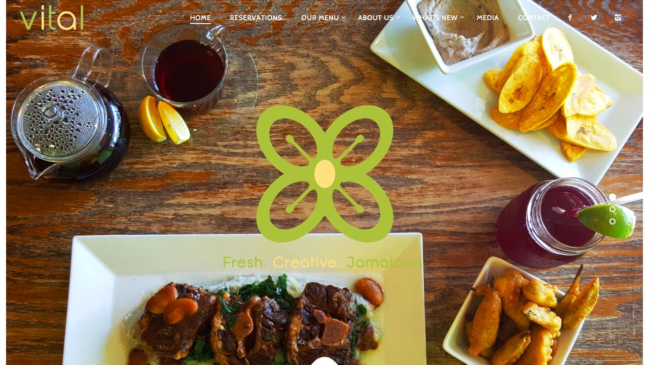 Vital (Montclair, Essex County) Jamaican restaurant. Serves lunch, dinner, Sunday brunch.Fresh juices, smoothies, soups, salads,vegan hummus, salmon burger, jerk shrimp, a variety of wraps, vegan black bean burger, curried cauliflower, braised oxtail, escovitched fish, cassava dumplings, vegan mac & cheese, and more. Vegan-friendly desserts.