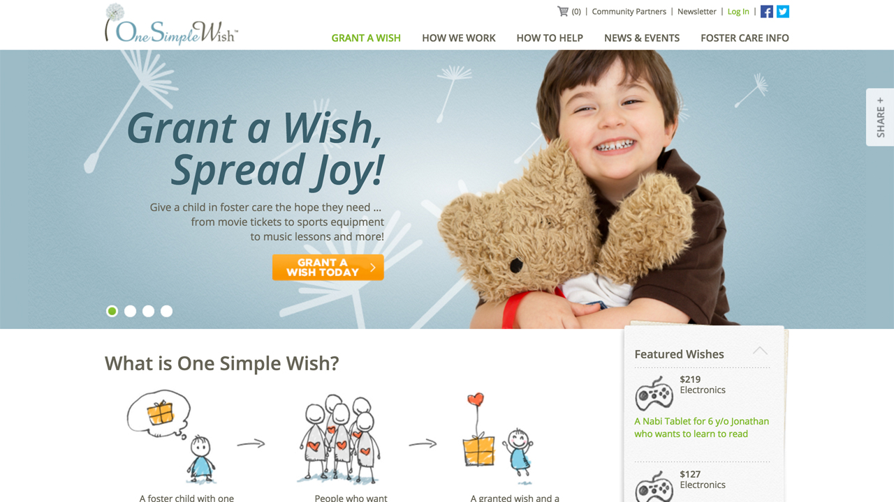 One Simple Wish (Trenton |Mercer County) Programs: Grants wishes for children in foster care.