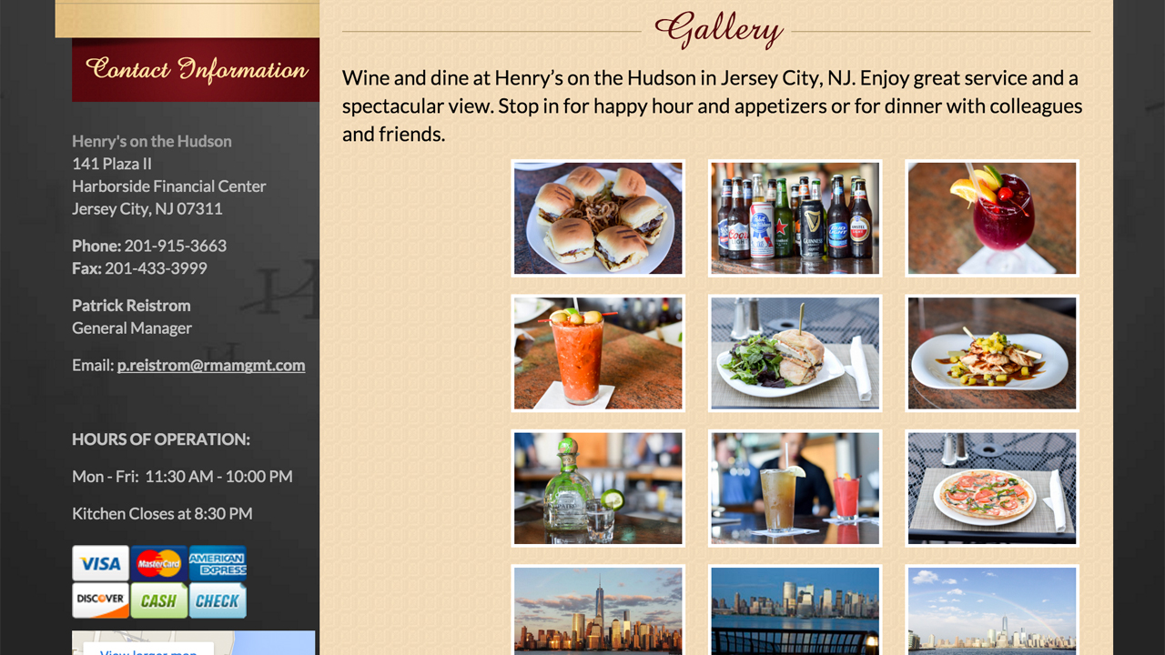 Henry's on the Hudson (Jersey City, Hudson County) Soups, salads, flatbread pizzas, sandwiches, burgers, meat / seafood / vegetarian dishes, and more. Specialty cocktails, beers, wine. Brunch - eggs, omelets, french toast, sandwiches, salads, burgers, flatbread pizzas, and more. Located at 141 Plaza II, Harborside Financial Center.