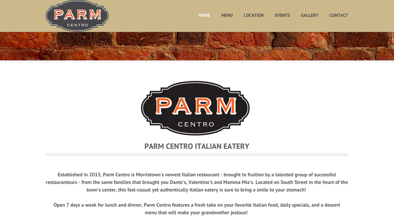 Parm Centro (Morristown, Morris County) Italian cuisine. Meat and seafood dishes, paninis, pizza, calzones, pastas, desserts, and more. Located at 11 South Street.