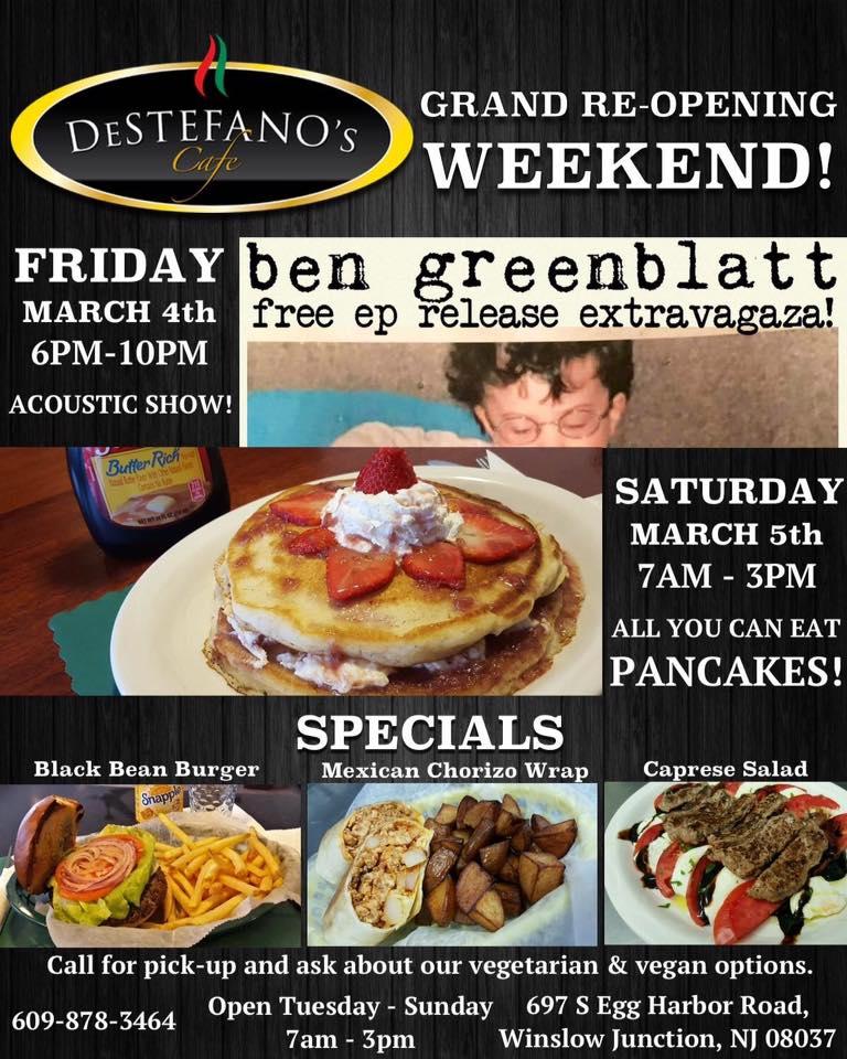 Flier for DeStefano Cafe's Grand Re-Opening.