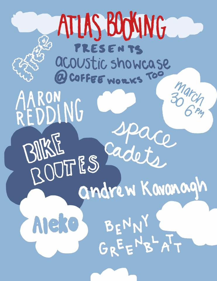 Flier for past Coffee Works Too show hosted by Atlas Booking