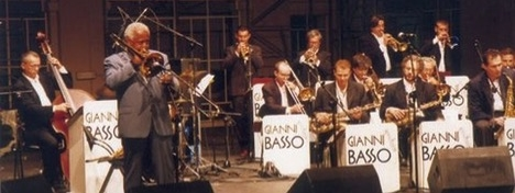 Astimusica 1999, Gianni Basso Big Band with the famous African American trombonist Slide Hampton for a concert documented on CD.  Image credit:  http://lucalab.jimdo.com/fotostoria/