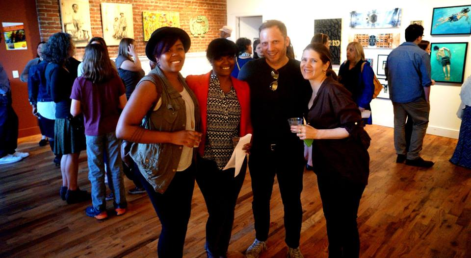 Brittany Craig and Patricia Rogers with artist Jen Ferguson.  Photo by   Gregory Burrus