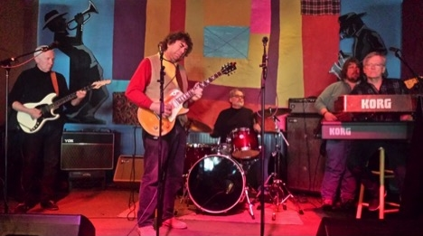 Al Gold's Blues Jam.  Al Gold - guitar, Jerry Cordasco - drums, Tom Rice – guitar, Mark Pavlica – bass, Thomas Strauss – Keys.  Image: Gregory Burrus.