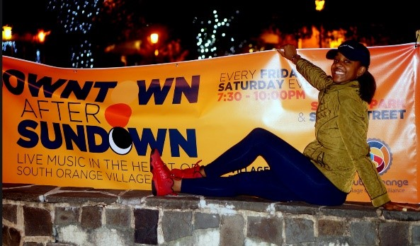 "Downtown After Sundown banner- ""Live Music in the Heart of South Orange Village"""