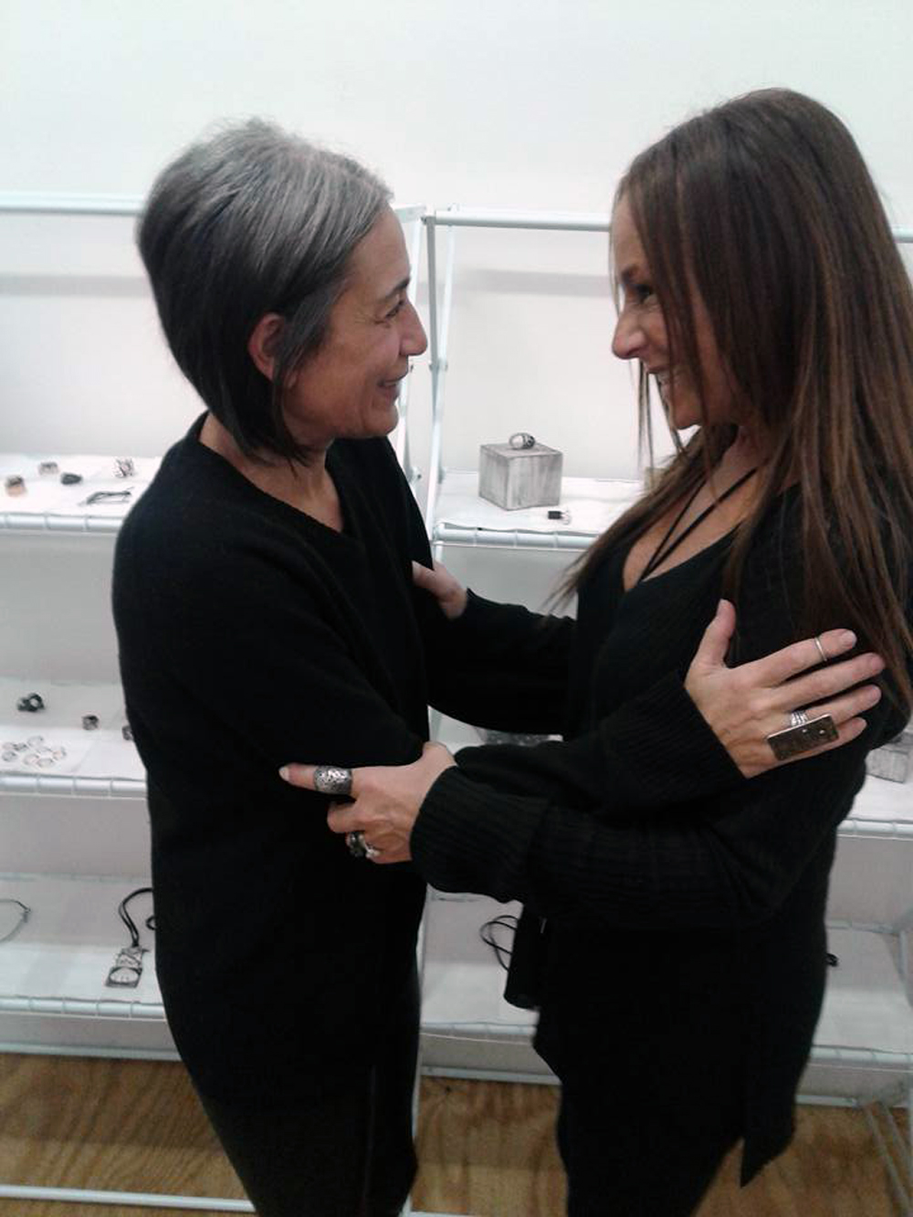 Gallery OVO   owner   Caro Kalb-Marr   (left) and artist/jewelry-maker   Jill Weissman Herlands   of   MetalurJ   (right).