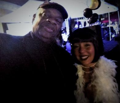 Gregory Burrus, Photojournalist, with South Orange Village President Sheena Collum at S.O. Train Station Celebration